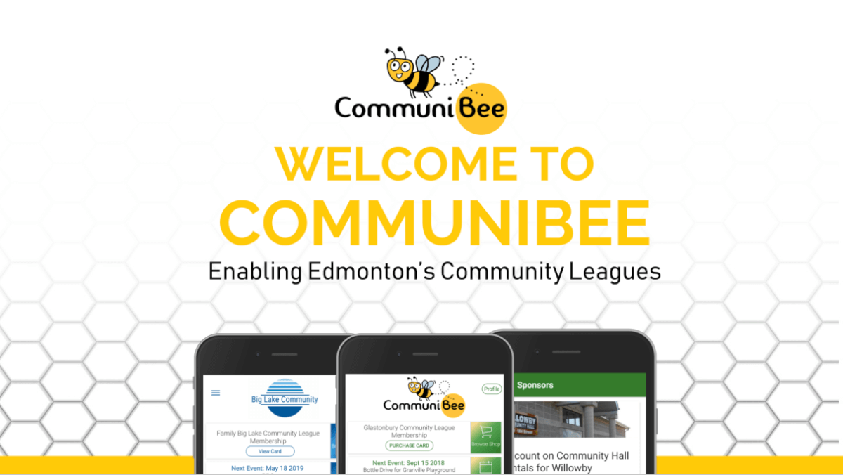 """CommuniBee banner with the caption, """"Welcome to CommuniBee, enabling Edmonton's community leagues."""""""