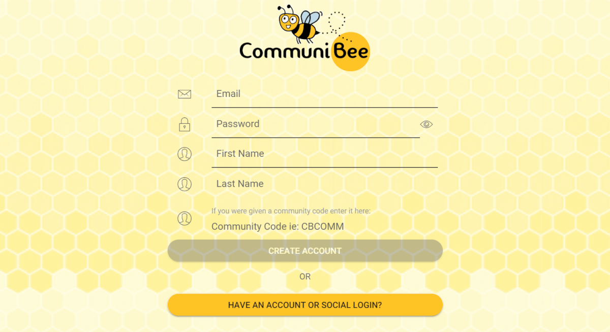 Image of the CommuniBee login screen.