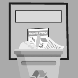 Graphic of a newsletter in a recycling bin.