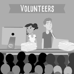 Graphic of two volunteers helping customers.