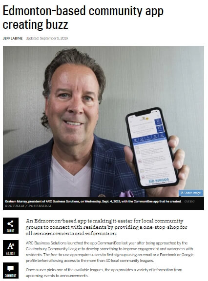 """Image of a news article titled, """"Edmonton-based community app creating buzz."""""""