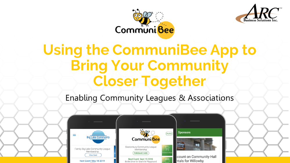 """CommuniBee banner image with the caption. """"Using the CommuniBee App to Bring Your Community Closer Together."""""""