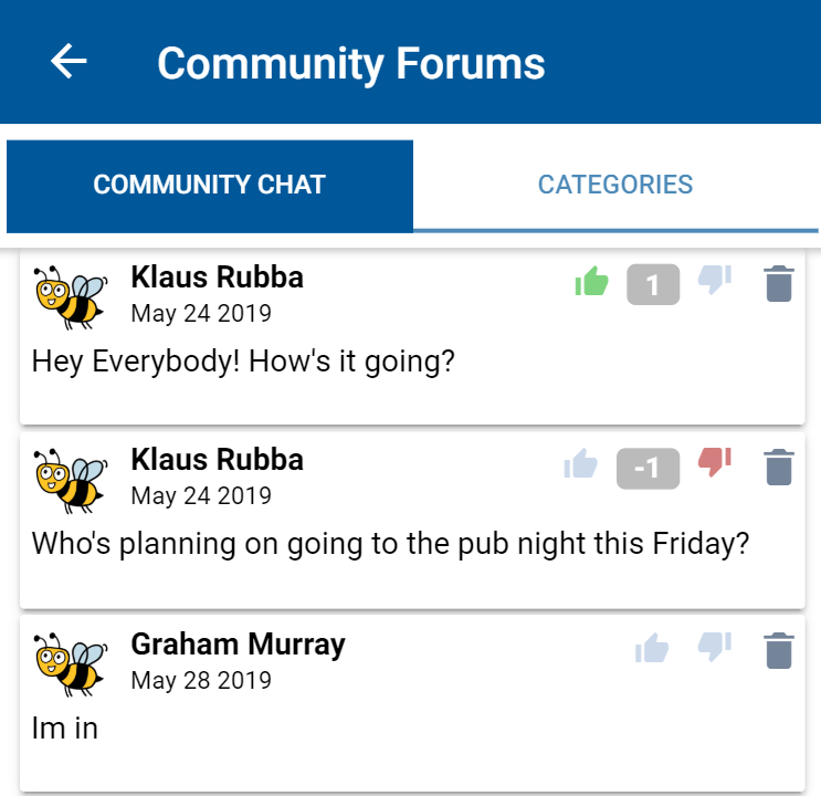 CommuniBee screen capture of the community forums section, previewing the community chat.